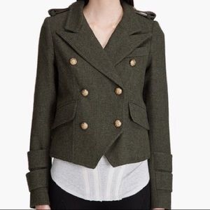 Smythe 100% Wool Army Green Military Style Jacket
